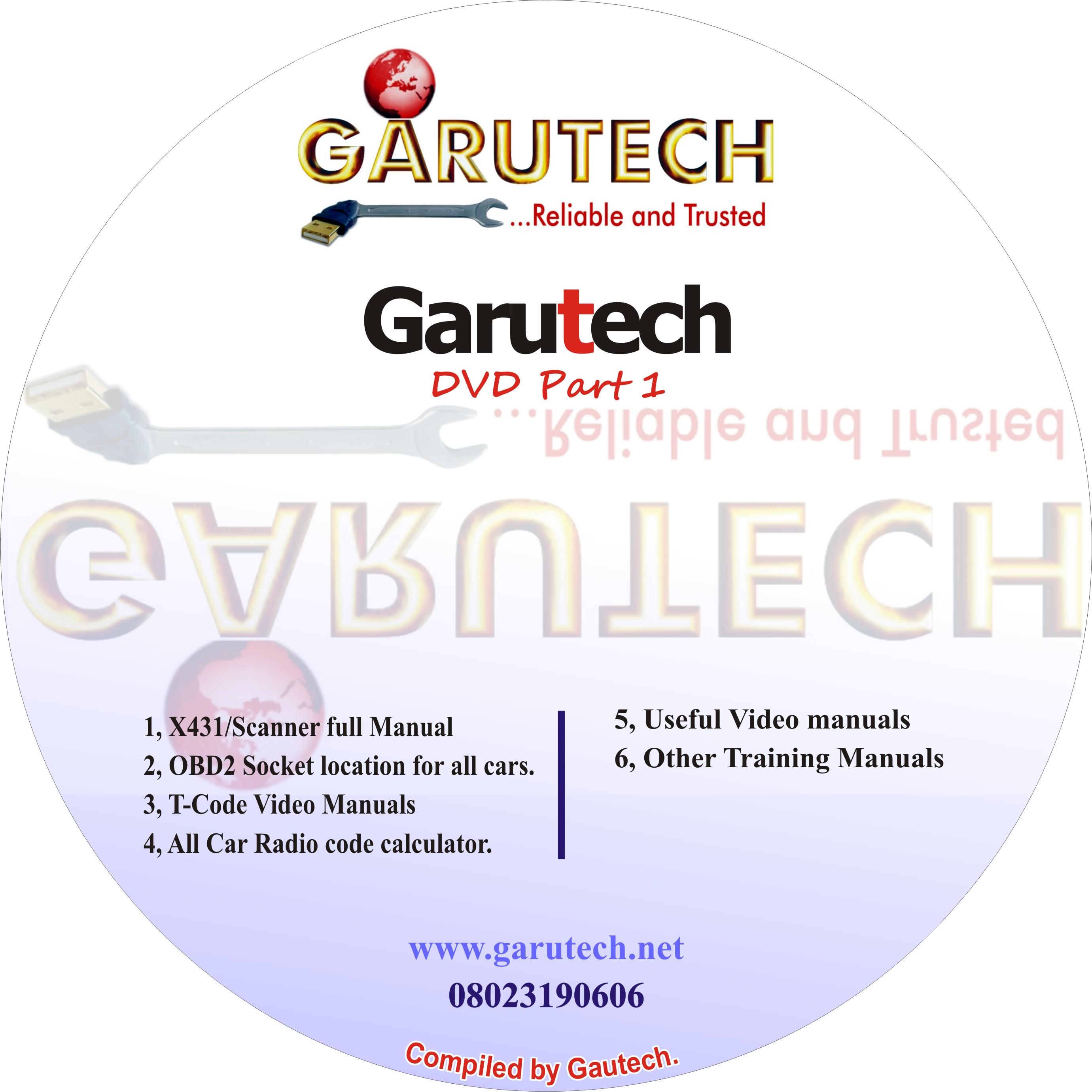 Garutech Automotive DVD compilation + Full Launch X431 Manuals